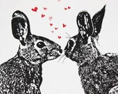 Pair o' Hares - Valentine or Anytime Greeting Card