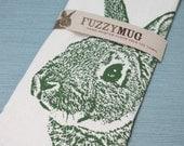 Fuzzy Bunny Tea Towel in Moss, Rabbit Tea Towel - Hand Printed Flour Sack Tea Towel (unbleached cotton)