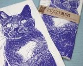 Kitty in Purple, Cat Tea Towel - Hand Printed Flour Sack Tea Towel, Cat Towel, Kitty Towel (Unbleached Cotton)