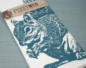 SPRING SALE!  Squirrel Tea Towel in Blue - Hand Printed Flour Sack Tea Towel
