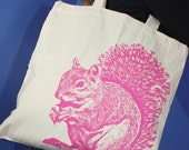 Super Squirrel Tote Bag in Pink