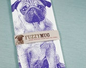 Pug Tea Towel in Purple - Hand Printed Flour Sack Tea Towel