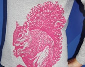 Super Squirrel Long Sleeve TShirt, Pink on Heather Gray - Ladies L