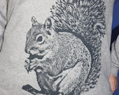 Super Squirrel Long Sleeve TShirt, Gray on Heather Gray - Ladies XL