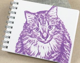 Mini Journal - Purple, Fuschia Kitty