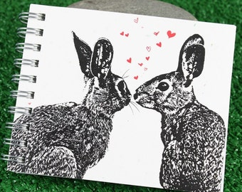 Mini Journal - Pair of Hares WITH HEARTS