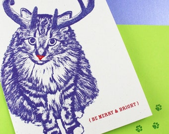 Rudolph Kitty Merry and Bright Holiday Cards - 4 Pack