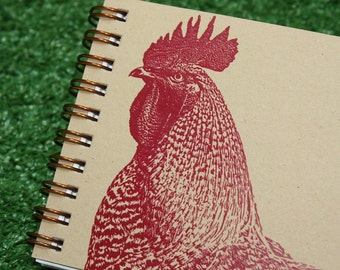 Mini Journal - Red Rooster on BROWN KRAFT