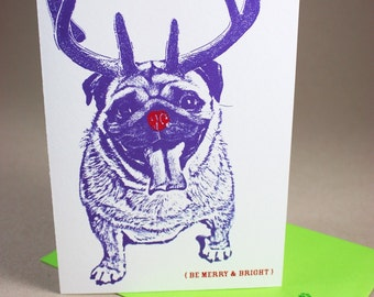 Pug a la Rudolph, Merry and Bright Holiday Card - Single Card