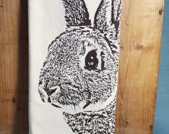 Fuzzy Bunny Tea Towel in Brown, Rabbit Tea Towel - Hand Printed Flour Sack Tea Towel (Unbleached Cotton)