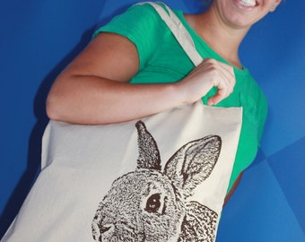 Year of the Rabbit Tote Bag in Chocolate Brown