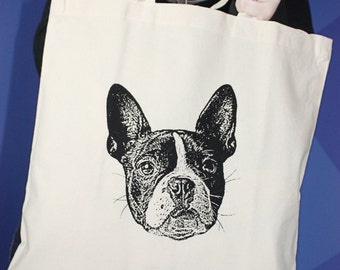 Boston Terrier Tote Bag -  Black and White