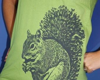 Super Squirrel TShirt, Gray on Kiwi - Unisex S, M, L, XL