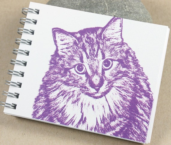 Mini Journal - Purple, Fuschia Kitty