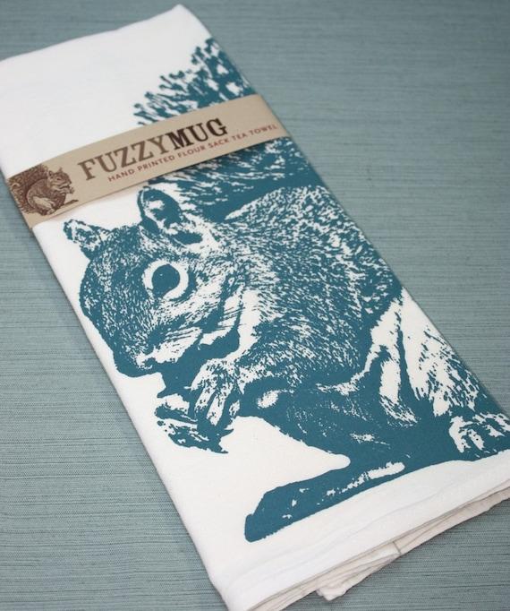 Tea Towels Printed For Schools: Squirrel Tea Towel In Blue Hand Printed Flour Sack Tea Towel