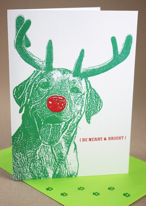Smiling Rudolph Merry and Bright Holiday Cards - 4 Pack