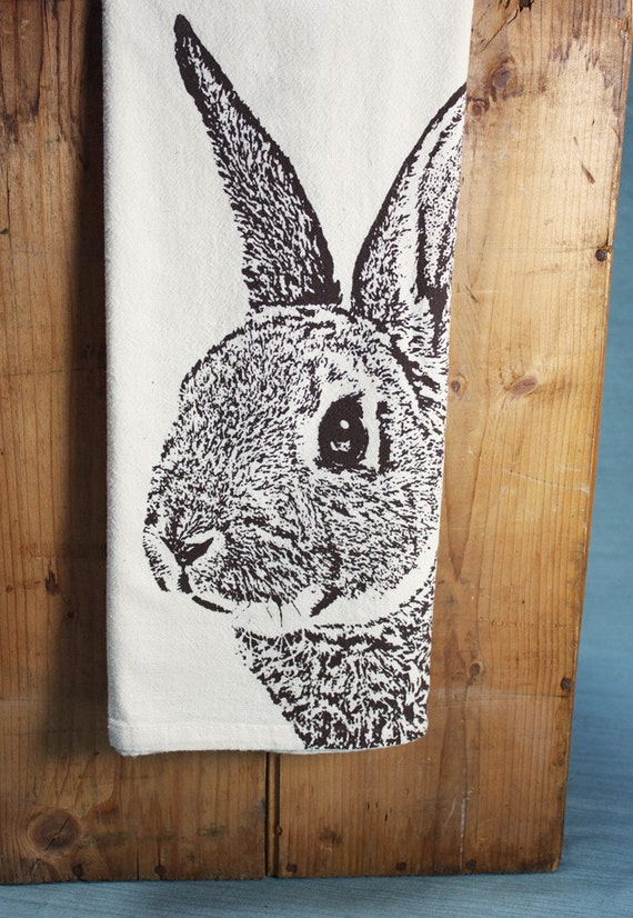 Fuzzy Bunny Tea Towel in Brown, Rabbit Tea Towel - Hand Printed Flour Sack Tea Towel (Unbleached Cotton)