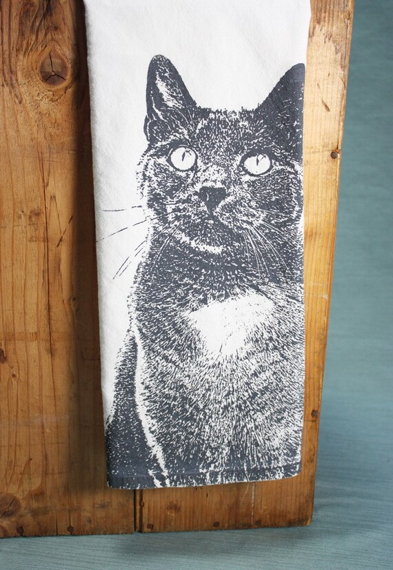 Serene Kitty in Gray, Cat Tea Towel - Hand Printed Flour Sack Tea Towel