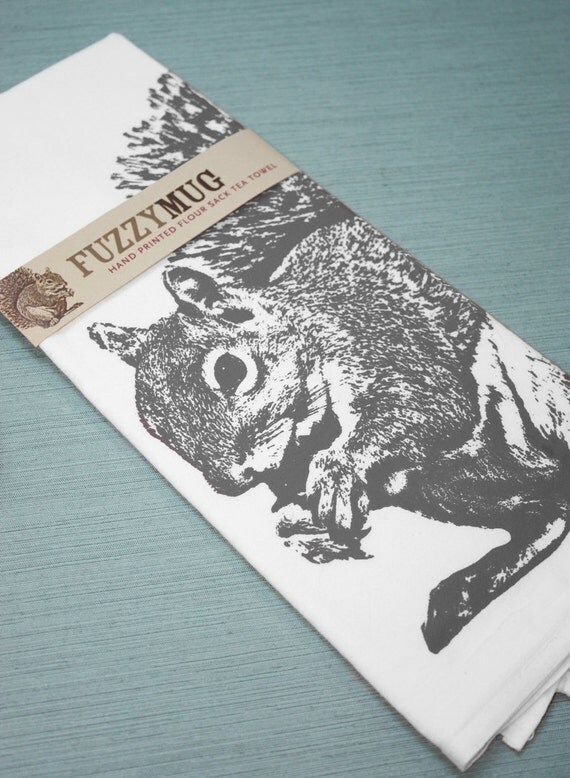 Squirrel Tea Towel in Gray - Hand Printed Flour Sack Tea Towel