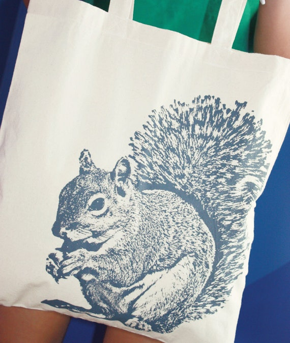 Super Squirrel Tote Bag in Gray