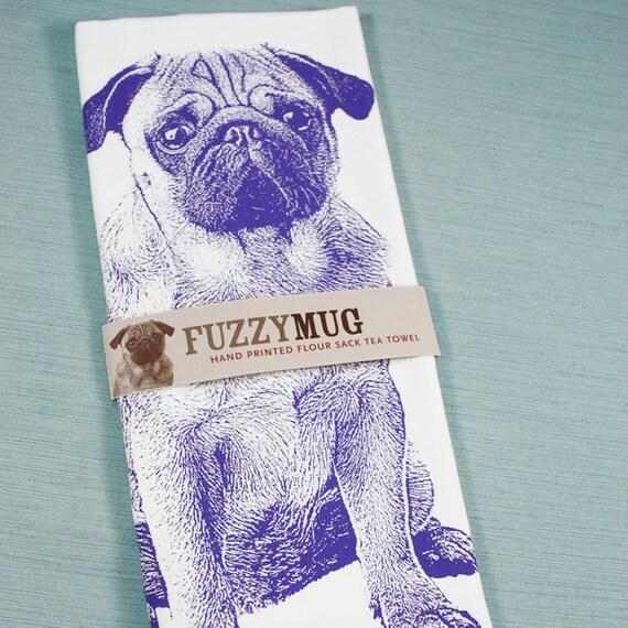 Pug Tea Towel in Purple - Hand Printed Flour Sack Tea Towel