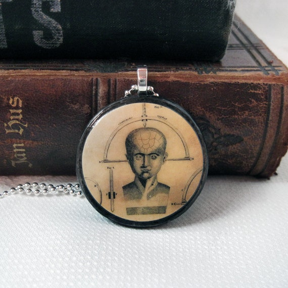 Wearable Art Pendant Phrenology Head Brain Science Collage Altered Art