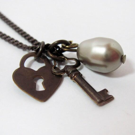 Brass Key Necklace Heart Charm and Swarovski Pearl