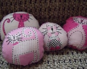 4 Miniature Dollhouse Cat Pillows