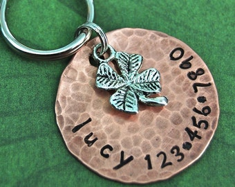 Lucky Charm ID Tag   1 inch in copper