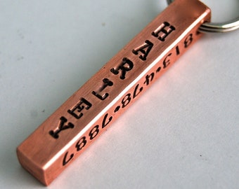 Custom Pet id tag / Sturdy Copper Bar Tag 4 sides to customize any way you wish