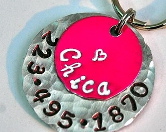 Custom Pet id tag / CHICA Hot pink