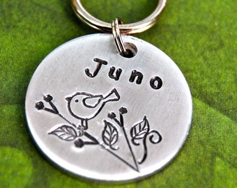 Juno Round  Pet Id Tag Dog tag Cat tag light weight id info on the back