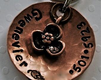 Custom pet id tag / Petals copper domed tag