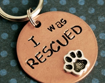 I WAS RESCUED Pet Tag - ID info on the back