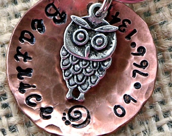 Copper domed Pet ID Tag with the cutest little Owl Charm