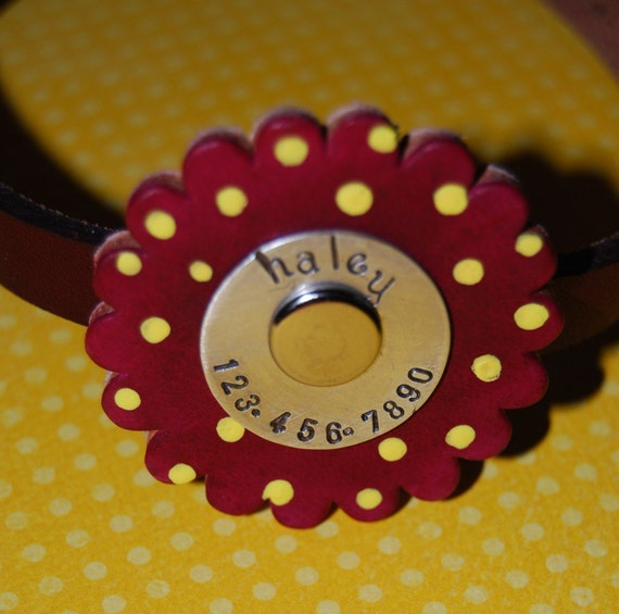 Leather Dog Collar        Darling Poppy Top NO MORE JINGLE JANGLE This collar has tag and collar ALL IN ONE You choose the colors
