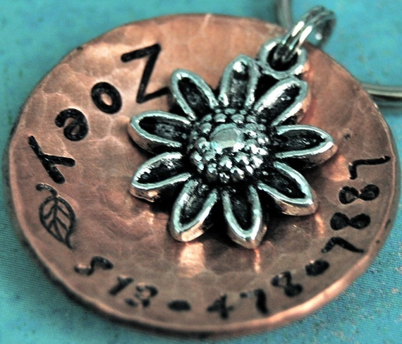 Pet ID tag - So Daisy copper domed