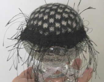 Pin Cushion vintage glass felted wool black and white checks