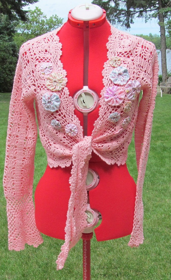 Altered upcycled pink crochetted Shrug sweater with yo yos refashioned reconstructed ladies large
