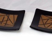 Fused Glass Sushi plate set - bronze and black
