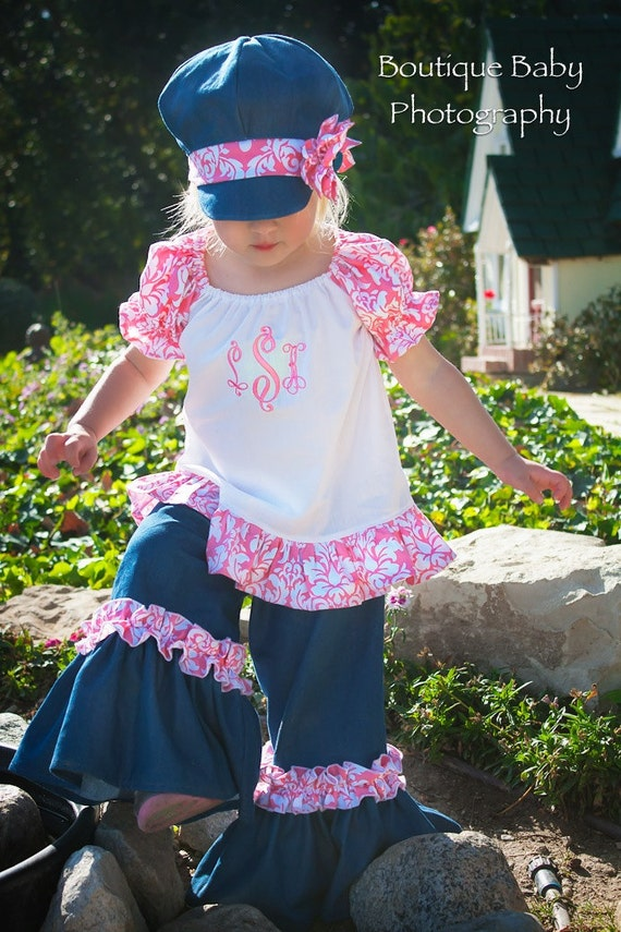 Pretty in Pink Damask and Denim Twirl Pants, Ruffle Peasant Blouse and Pageboy Hat- Sizes 6mos - 6yr
