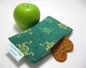 Whimsical  Frogs  Eco-Green Snack Bag