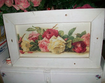 shabby  vintage cottage De Longpre PINK roses chic