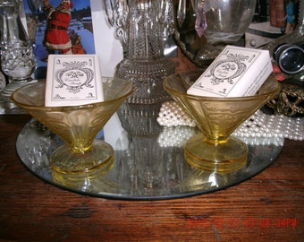 Vintage Set Of Two Yellow Depression Sherbet Glasses