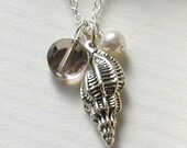 Shell Necklace- Sterling Silver- Beach Wedding- Bride Bridesmaid- Seashell by the Seashore