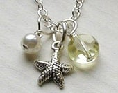Kids Starfish Necklace- Sterling Silver- Beach Wedding- Flower Girl- Sunshine Yellow
