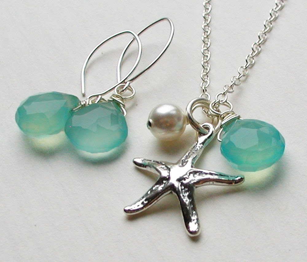 starfish necklace and earrings set sterling silver by seadrops