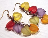 Earrings Purple Yellow Orange Green Red Lucite Heart Antique Brass FREE SHIPPING