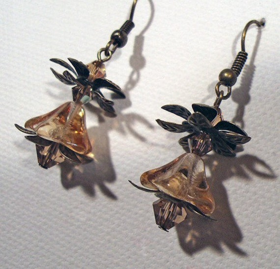 Amber Czech Glass Flower Swarovski Crystal Antique Brass Earrings