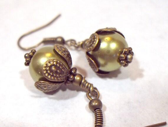 Olive Green Swarovski Pearl Antique Brass Earrings